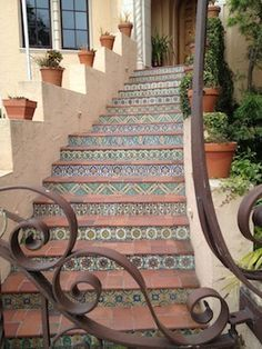 Backyard Tile, Mexican Tiles, Spanish Tile, Spanish Revival, Tile Stairs, Spanish Miss Style, Spanish Style Homes, Mexicans Tile