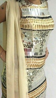 Elegante vestito abito tubino cerimonia sposa sfilata modella strass donna gala.