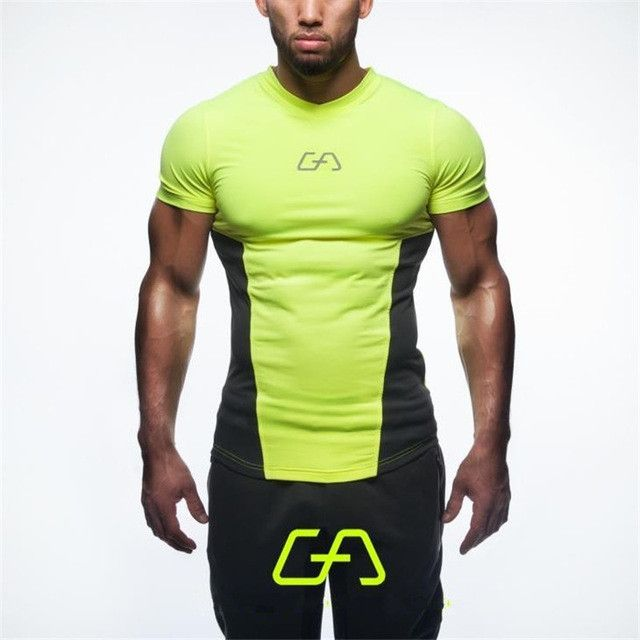 New high quality 2016 gymshark leica polyester patchwork compressed T-shirt male bodybuilding muscle men men's t shirts