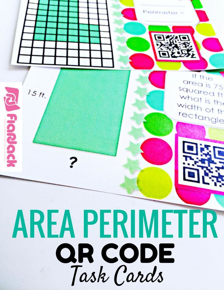 28 best math images on pinterest teaching ideas teaching math and area perimeter qr code task cards fandeluxe Image collections