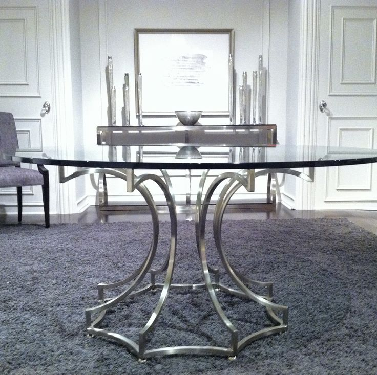 FIRST LOOK. Bernhardt | Miramont Round Dining Table in steel and glass. To debut at October 2014 High Point Market #hpmkt