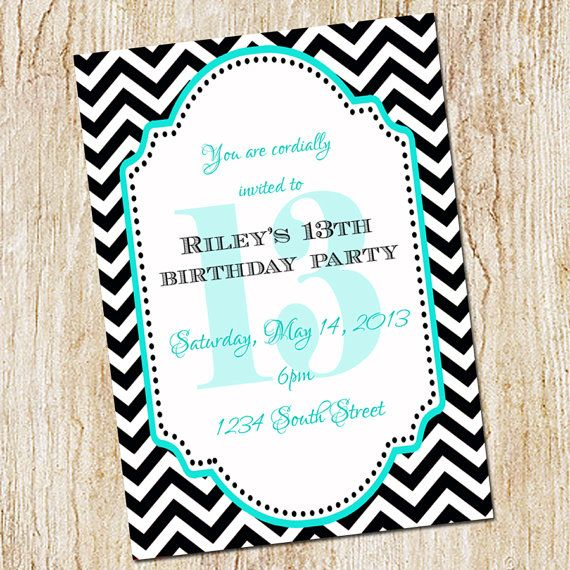 13th Birthday Party Invitation Girl Digial File Print Yourself Or PRINTED