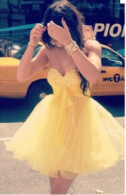 Yellow Short Poofy Dress