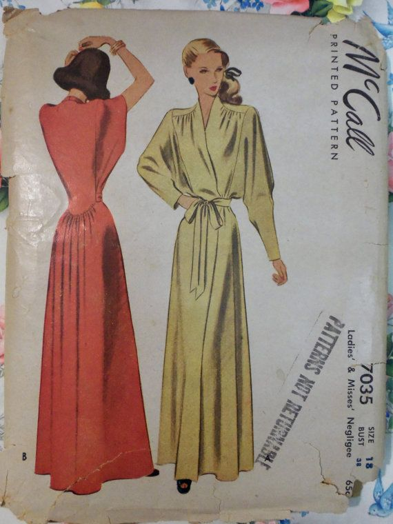 Fabulous Vintage GLAM 1947 McCall 7035 Misses' ROBE pattern Size 18 bust 38 rare find