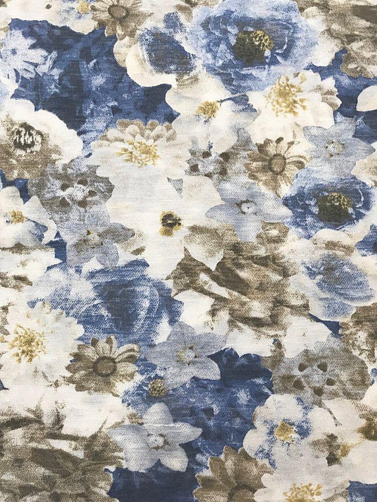 1580 euro m baumwolljersey blumen blau grau weiss fuer shirts etsy
