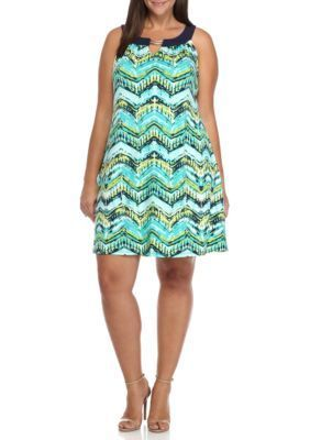 Kim Rogers Women's Plus Size Sleeveless Cleo Neck With Trim Keyhole Dress - Blue Splashwave - 2X