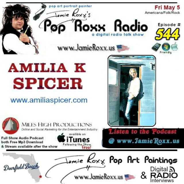 🎧 Tonight's Episode (#544) of the Pop Roxx Radio Talk Show with featured guest Amilia K Spicer Music (#Americana / #Folk / #Rock) Has now been converted to a #Podcast and is now Archived at: ✔ My Website (www.JamieRoxx.us) ✔ BlogTalkRadio (http://tobtr.com/s/9986517) ✔ And up for FREE on #Itunes