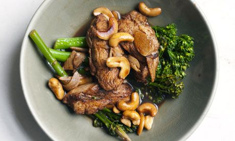 Nigel Slater's chicken, cashew and broccoli in a bowl