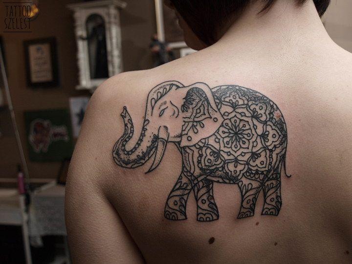 #szelest #tattoo #dotwork #mandala #elefunt #slon
