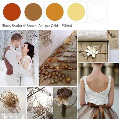 Color Palette: Copper, Shades of Brown, antique gold, + White