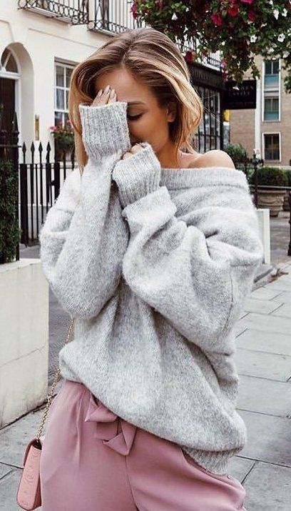 #fall #outfits women's grey sweater