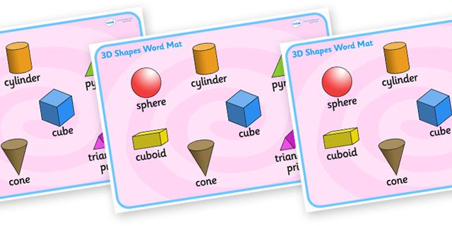 Twinkl Resources >> 3D Shape Word Mat  >> Thousands of printable primary teaching resources for EYFS, KS1, KS2 and beyond! word mat, writing aid, 3D shape names, shape flashcards, shape pictures, shape words, 3D flashcards, technical terms,