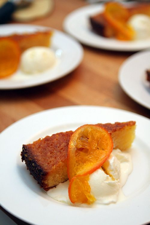 Pastel de almibar de naranja con naranjas confitadas   -   Orange Syrup Cake with Candied Oranges
