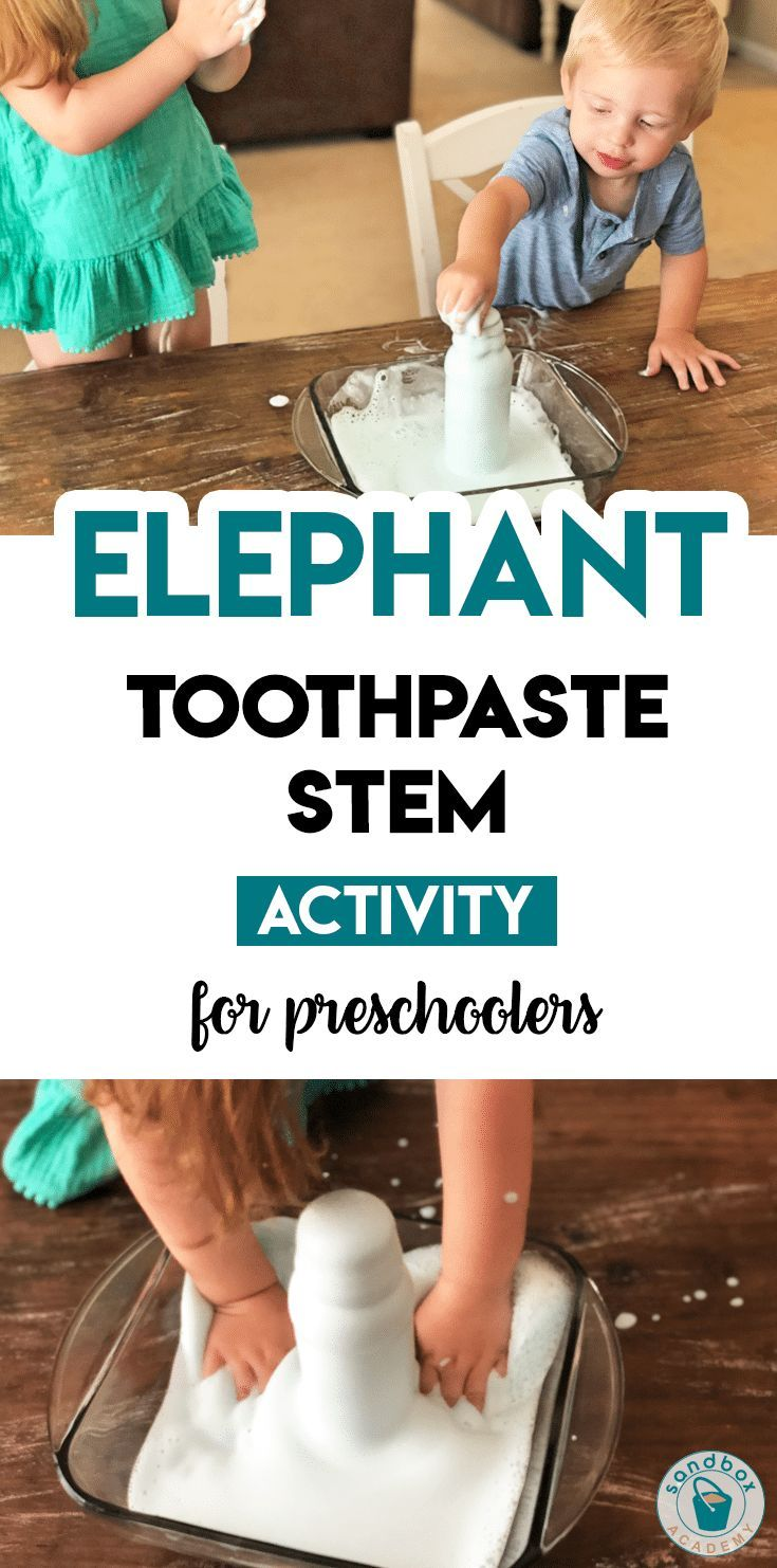 Elephant Toothpaste STEM Activity for Preschool | Sandbox Academy Animal themed STEM activity for your preschool, pre-k, and kindergarten kid. #toddle…