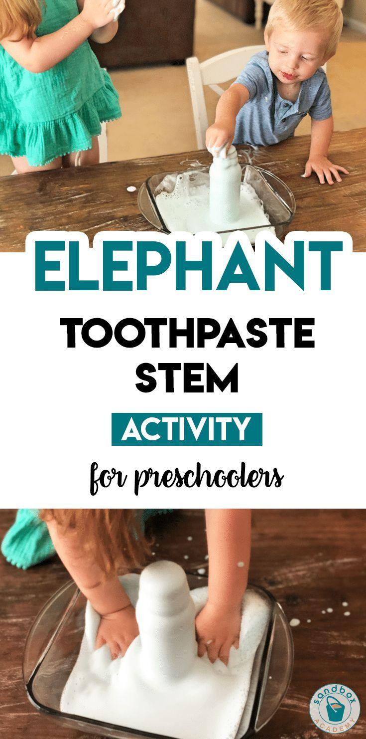 Elephant Toothpaste STEM Activity for Preschool | Sandbox Academy Animal themed STEM activity for your preschool, pre-k, and kindergarten kid. #toddle…