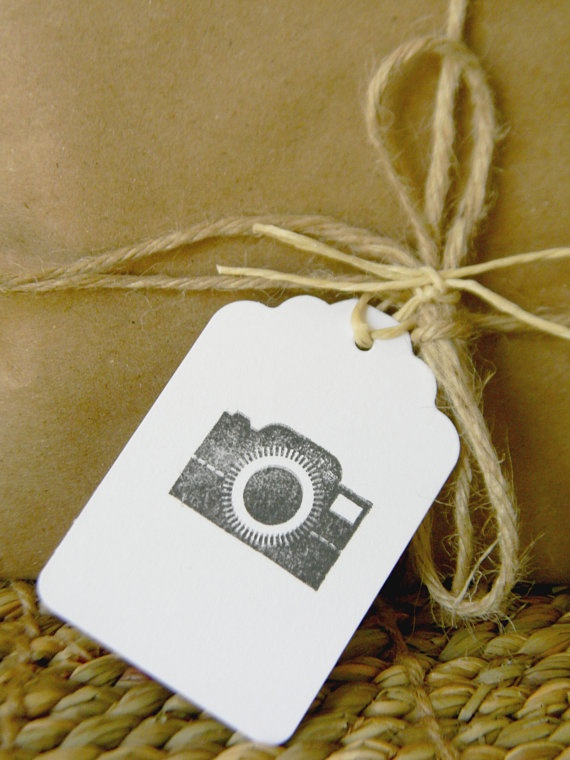 Camera Hand stamped tags