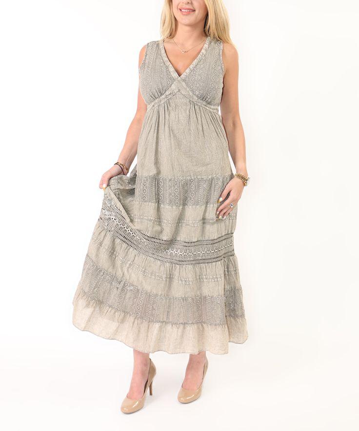 Khaki Tiered Ruffle Tank Maxi Dress - Plus Too