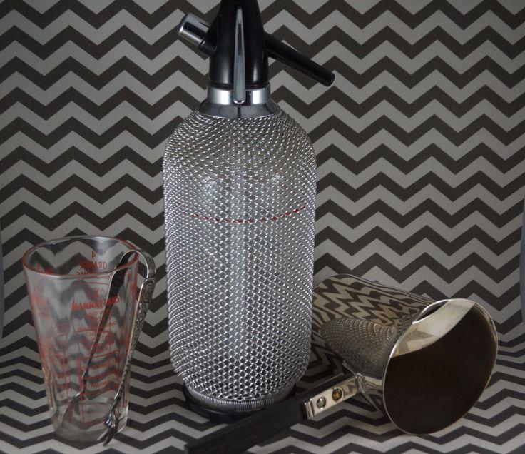 Vintage Seltzer Bottle, Soda, Siphon, Bar, Pewter, Czechoslovakian Glass, Sparklets, by shopnestandcompany on Etsy