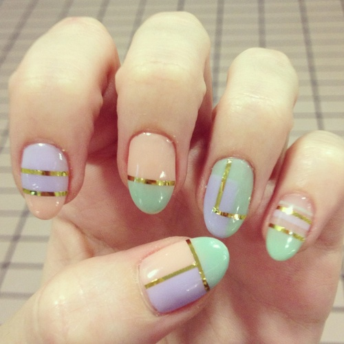 Probably wouldnt get my nails shaped like that, but I thought it looked really nice with the pastel and gold