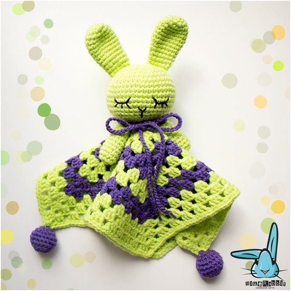 Crochet green violet baby security blanket rabbit by BlueRabbitLV