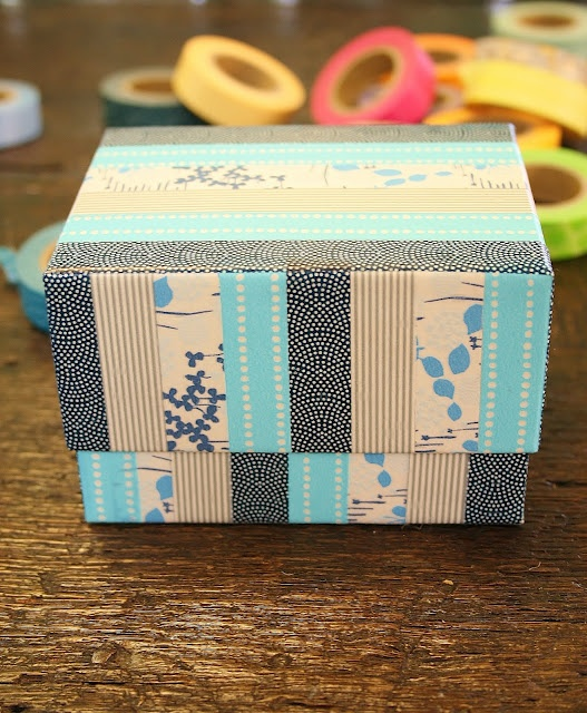 Diy washi tape box trinket boxes containers tins for Washi tape project ideas