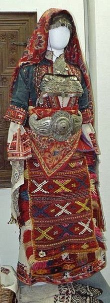Traditional bridal/festive ensemble, late 19th century. Ethnic Macedonian, from the village of Pirin (Sandanski region, southwest-Bulgaria).