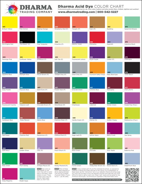 Dharma Acid Dye poster with their entire line of colors