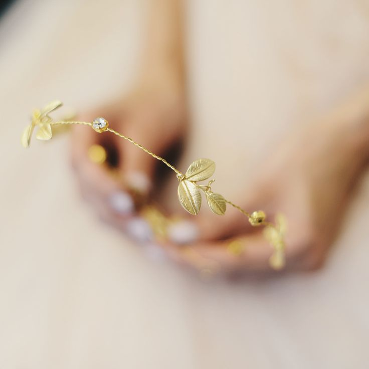Золотой венок для невесты, свадебный аксессуар, нежный модный головной убор невесты рустик в магазине «Beretkah» на Ламбада-маркете