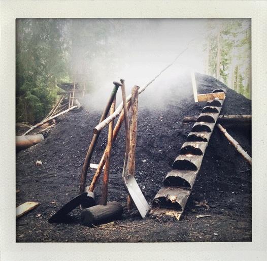 Charcoaling-burner at Kolarbyn, Sweden.