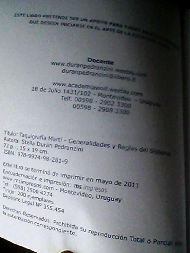 Libros de Taquigrafía Sistema Martí. El usado en el parlamento uruguayo  Libros nuevos de Taquigrafía y un CD de ejercic ..  http://toledo.evisos.com.uy/libros-de-taquigrafia-sistema-marti-el-usado-en-id-261745