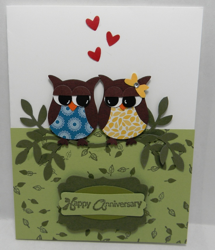 Stampin' Up! Owl Anniversary Punch Art Card