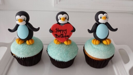Pinguin cupcakes topper