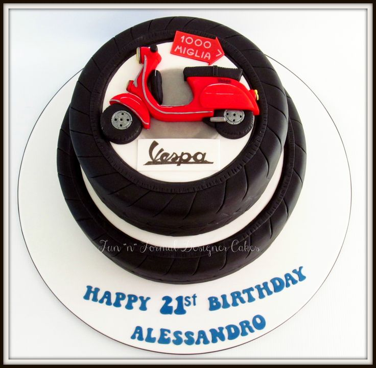 Vespa themed birthday cake.