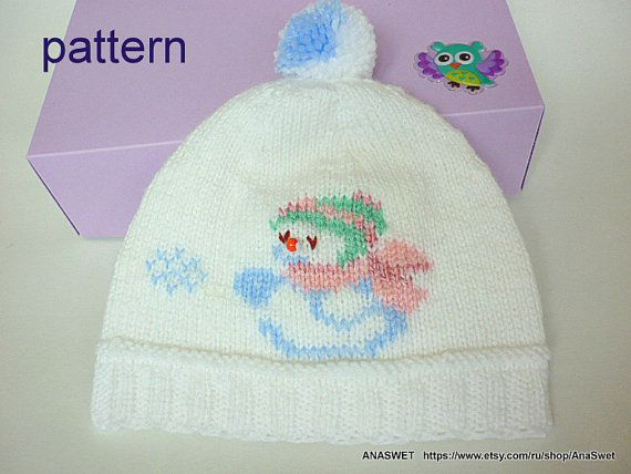 Knitting pattern baby hat.Baby hat in white .Knitted baby hat with application.PDF pattern