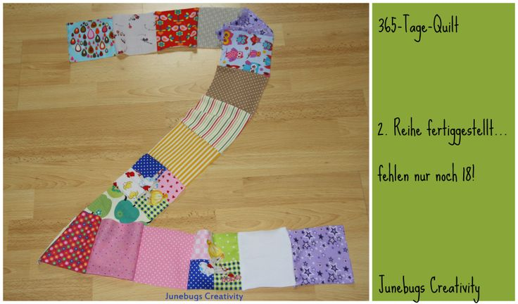 Die 2. Reihe des 365-Tage-Quilts ist fertig