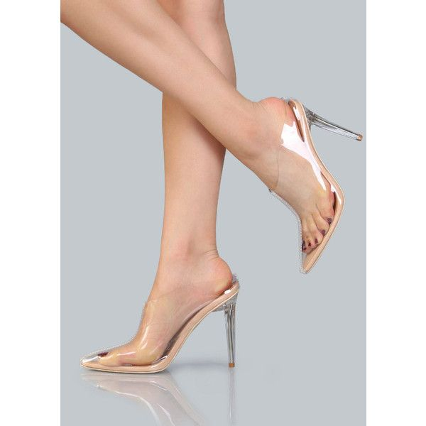Clear Pointed Stiletto Ankle Booties NUDE ($38) ❤ liked on Polyvore featuring shoes, nude, stiletto high heel shoes, slip-on shoes, clear high heel shoes, clear plastic shoes and pointy high heel shoes
