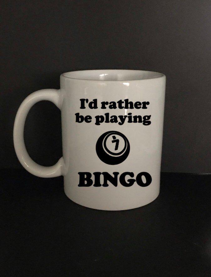 Bingo Mug I D Rather Be Playing Bingo Bingo Coffee Mug Glass Jars With Lids Mugs Glass Jars