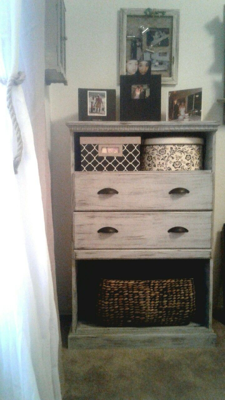Turned my son's old Dresser with a broken drawer, in to this. Added a shelf, new hardware, some paint, glaze, and a basket, and voila!