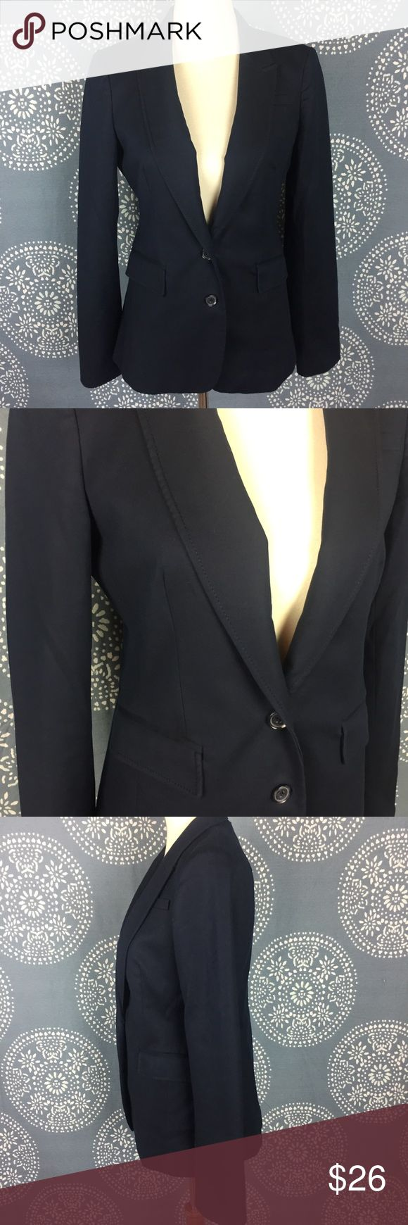 "Banana Republic Navy 2 Button Blazer Banana Republic blazer in a navy color. It looks black in the pictures but is definitely navy. It has a 2 button closure and 2 front pockets with flaps. Great condition. 18"" armpit to armpit and 27"" long. Banana Republic Jackets & Coats Blazers"