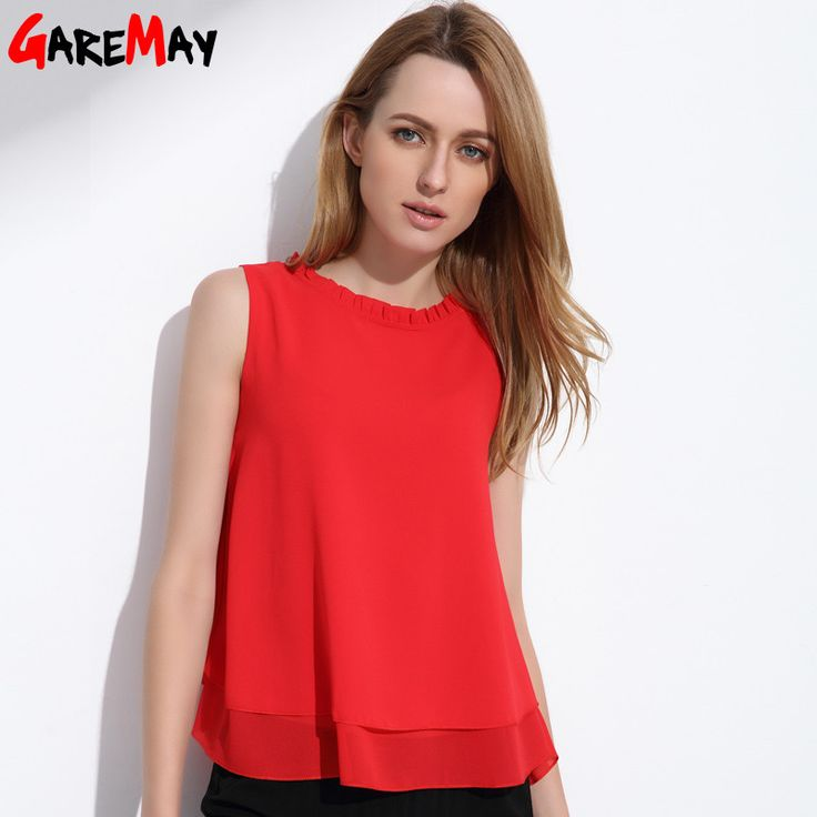Buy GAREMAY Women Summer Tops Sleeveless Feminine Blouses Plus Size Loose  Ruffle White Shirt Fashion Chiffon Blouse For Women 001A at Jessikas Tops  for only ...