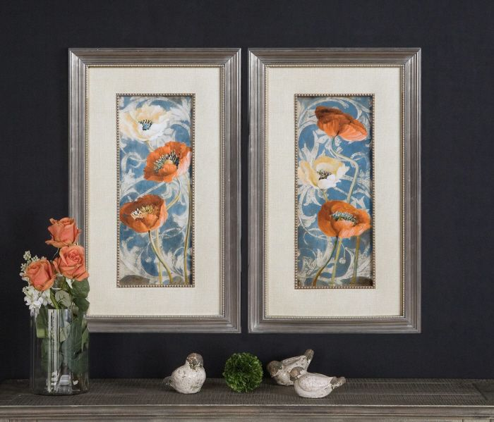 Shop for uttermost poppies de bleu i ii art these colorful poppies are accented by beige faux linen mats and surrounded by golden bronze frames and
