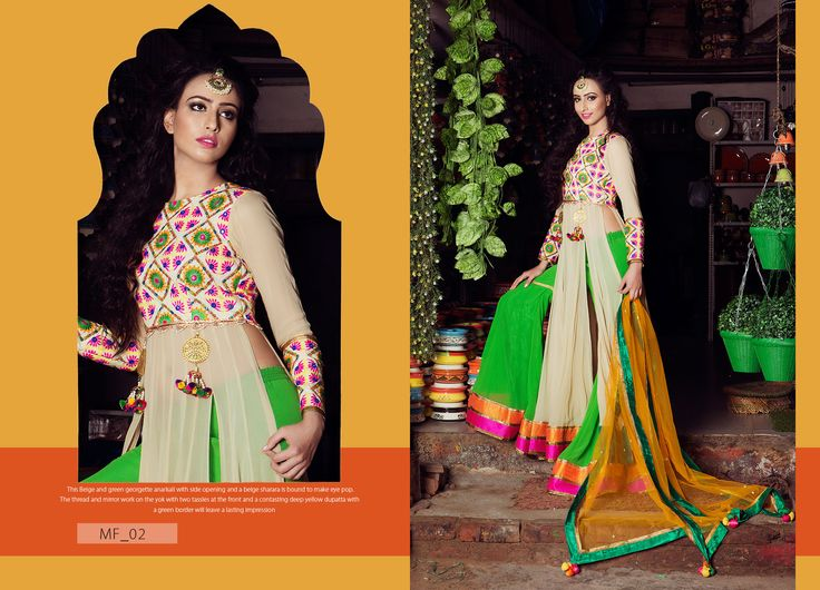 The Belge and green georgette anarkali with side opening and a belge sharara is bound to make eye pop. The thread and mirror work on the yok with two tassles at the fron and a contasting yellow dupatta with a green border will leave a lasting impression Product Code: MF_02 Price:$274 Mail: rangrezzfashions@gmail.com    #Fashion #Dress #Designersuites #NiceDesigns #Models #Beauty #colors #dresses