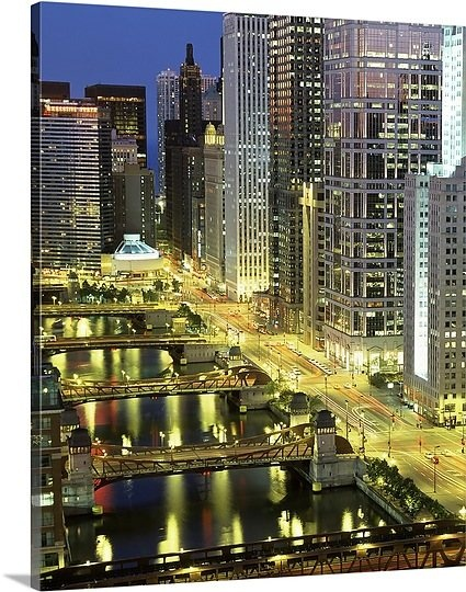 Skyscrapers lit up at night, Chicago River, Chicago, Cook County, Illinois,