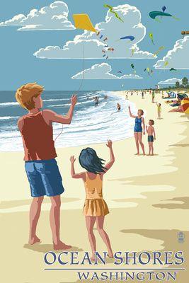 Ocean Shores, Washington - Children Flying Kites - Lantern Press Poster