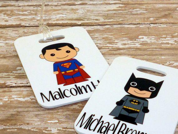 Kids (Choose your) Super hero bag tags - CUSTOM {Double Sided}Fiberglass *NOT laminated Custom bag tag - Sports bag tag - Diaper bag tag