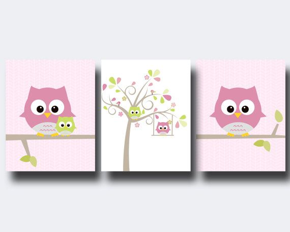 Buho vivero pared impresión, buho y árbol pared arte impresiones, rosa…
