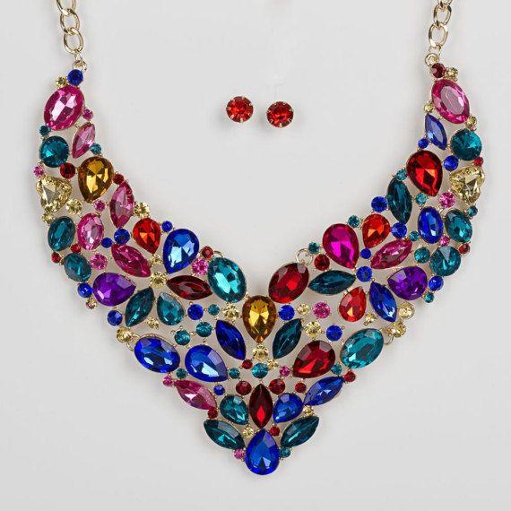 Crystal statement necklace Rhinestone Bib NecklaceMega