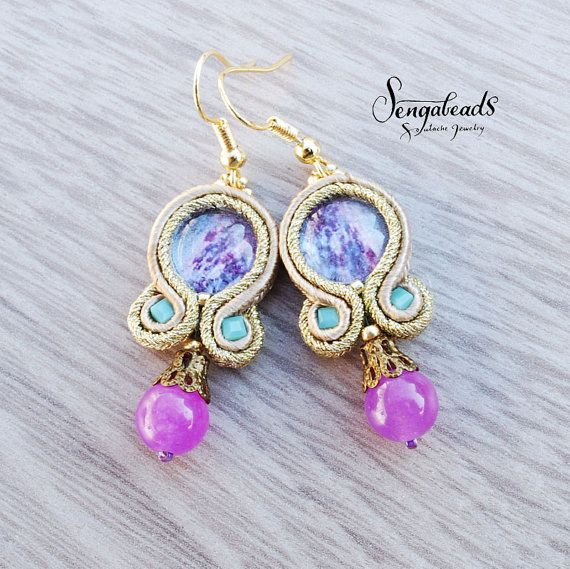 Small soutache earrings with glass cabochons. Soutache jewelry. Soutache earrings. Handmade gift. Purple earrings. Gift for her. Soutache