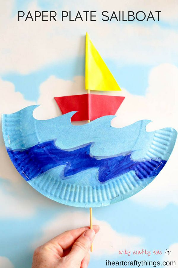 This interactive paper plate sailboat craft for kids is perfect for a summer kids craft, ocean craft for kids and fun paper plate kids craft.