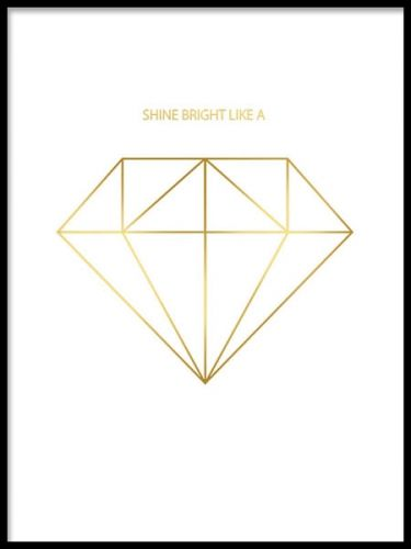 A lovely gold poster with a graphical diamond print. The beautiful gold foil gives a genuine and luxury metallic look that gives that little extra to your walls. We have a wide selection of gold posters and prints, mix and match to make your own personalized art collage. Desenio.co.uk